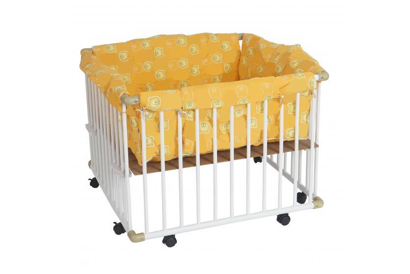 baby laufstall laufgitter 100x100cm inkl einlage wei lackiert h henverstellbar ebay. Black Bedroom Furniture Sets. Home Design Ideas