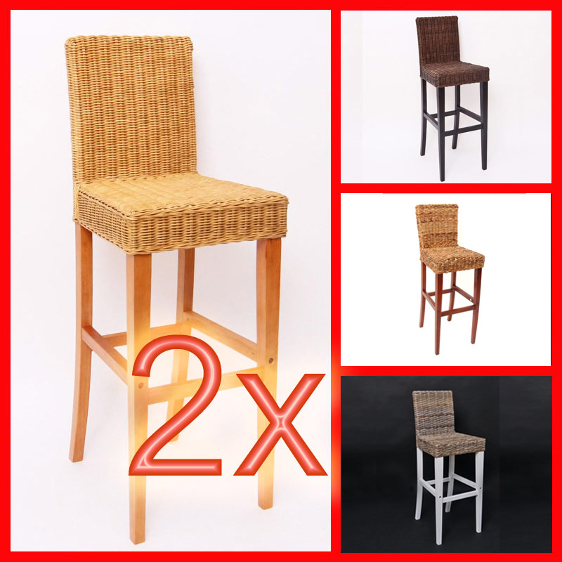 2x barhocker barstuhl m80 rattan kubu bananengeflecht dunkel hellbraun natur ebay. Black Bedroom Furniture Sets. Home Design Ideas