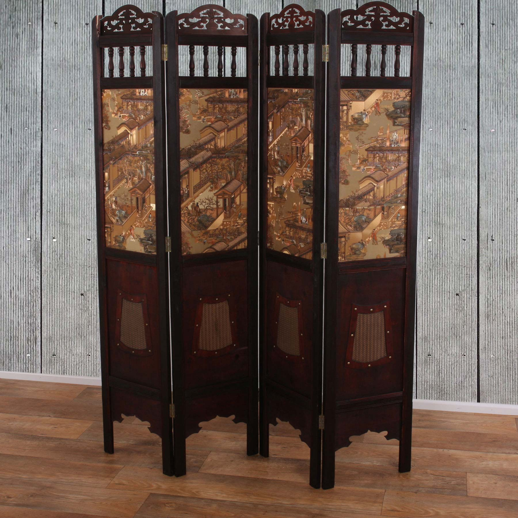 paravent shanghai chinesischer raumteiler holz 175x150cm ebay. Black Bedroom Furniture Sets. Home Design Ideas