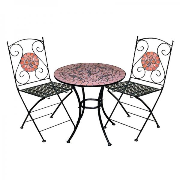 Mosaik set gartengarnitur mosaiktisch 2x stuhl terrakotta ebay - Mesas de terraza y jardin baratas ...