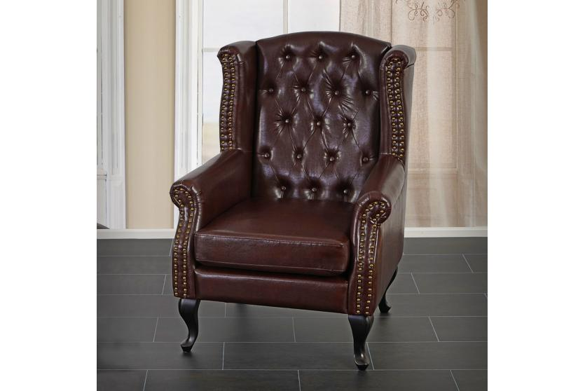 sessel clubsessel chesterfield oxford kunstleder antik braun ohne ottomane ebay. Black Bedroom Furniture Sets. Home Design Ideas