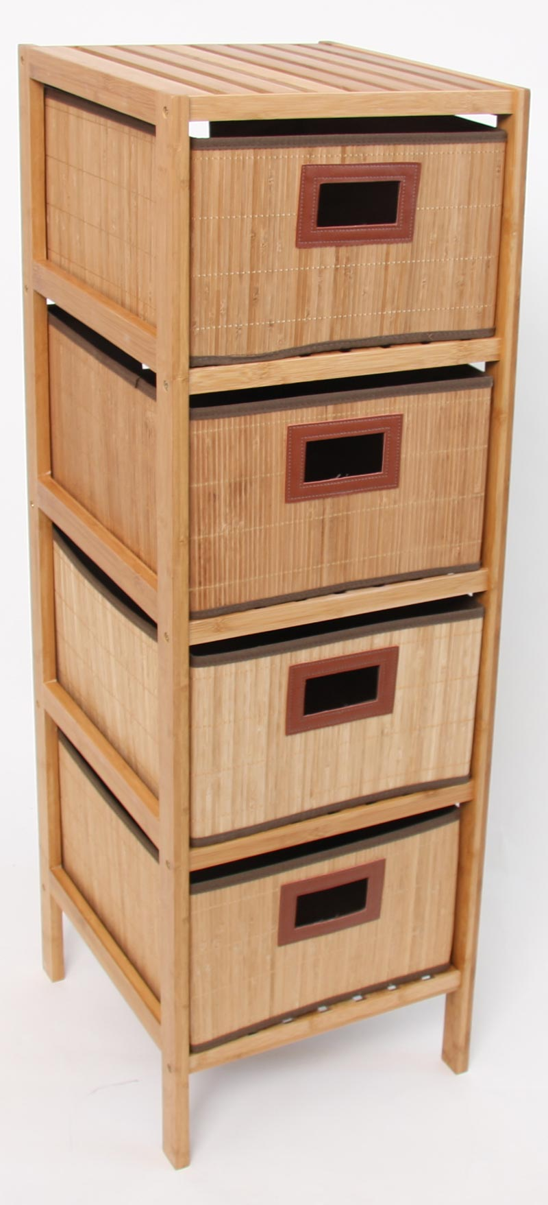 standregal regal kommode schrank aus bambusholz mit 4 boxen schubladen ebay. Black Bedroom Furniture Sets. Home Design Ideas