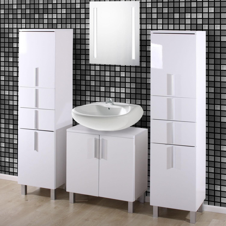 badezimmer garnitur umea hochglanz 2x hochschrank 1x unterschrank ebay. Black Bedroom Furniture Sets. Home Design Ideas