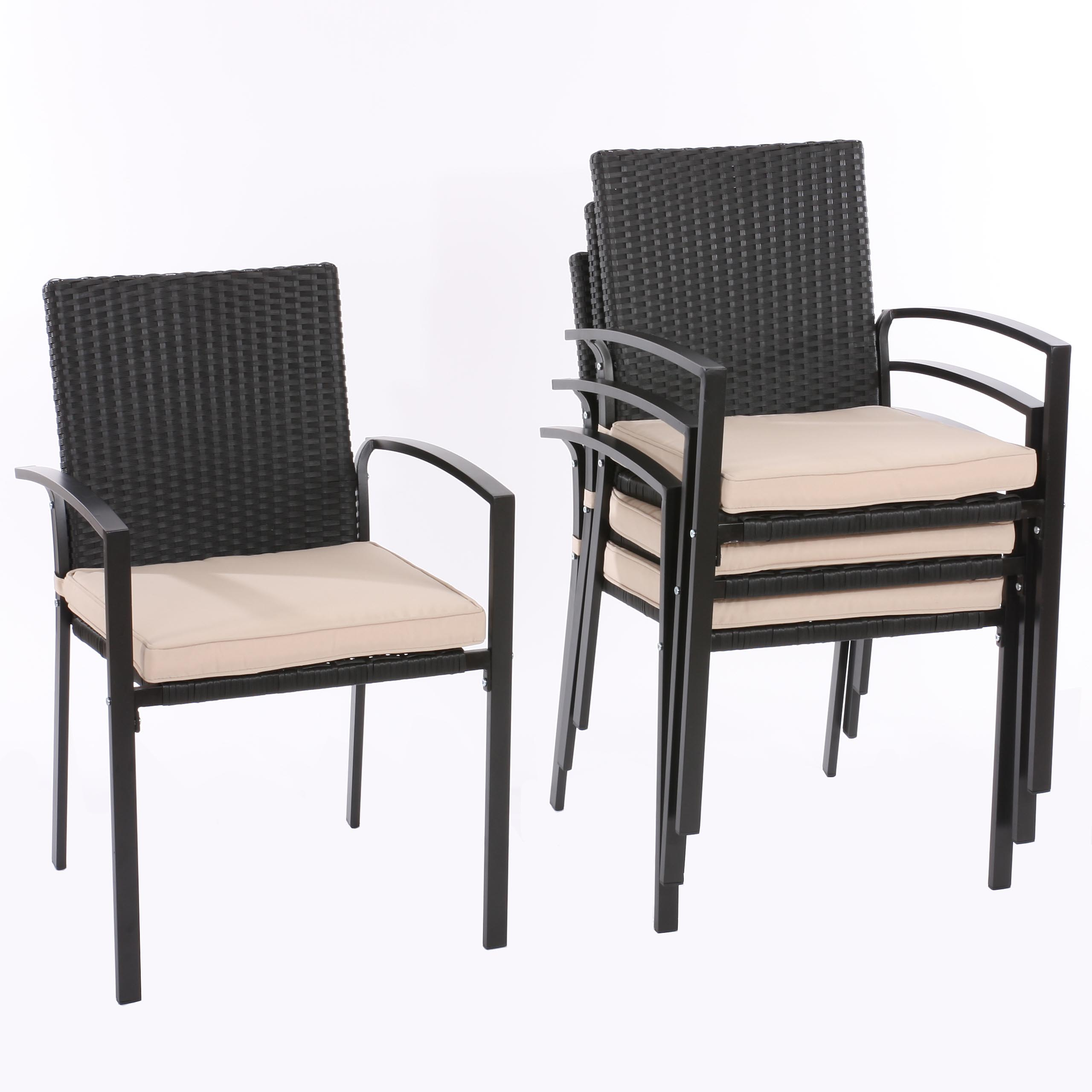 poly rattan gartenstuhl stapelstuhl palma inkl sitzkissen ebay. Black Bedroom Furniture Sets. Home Design Ideas