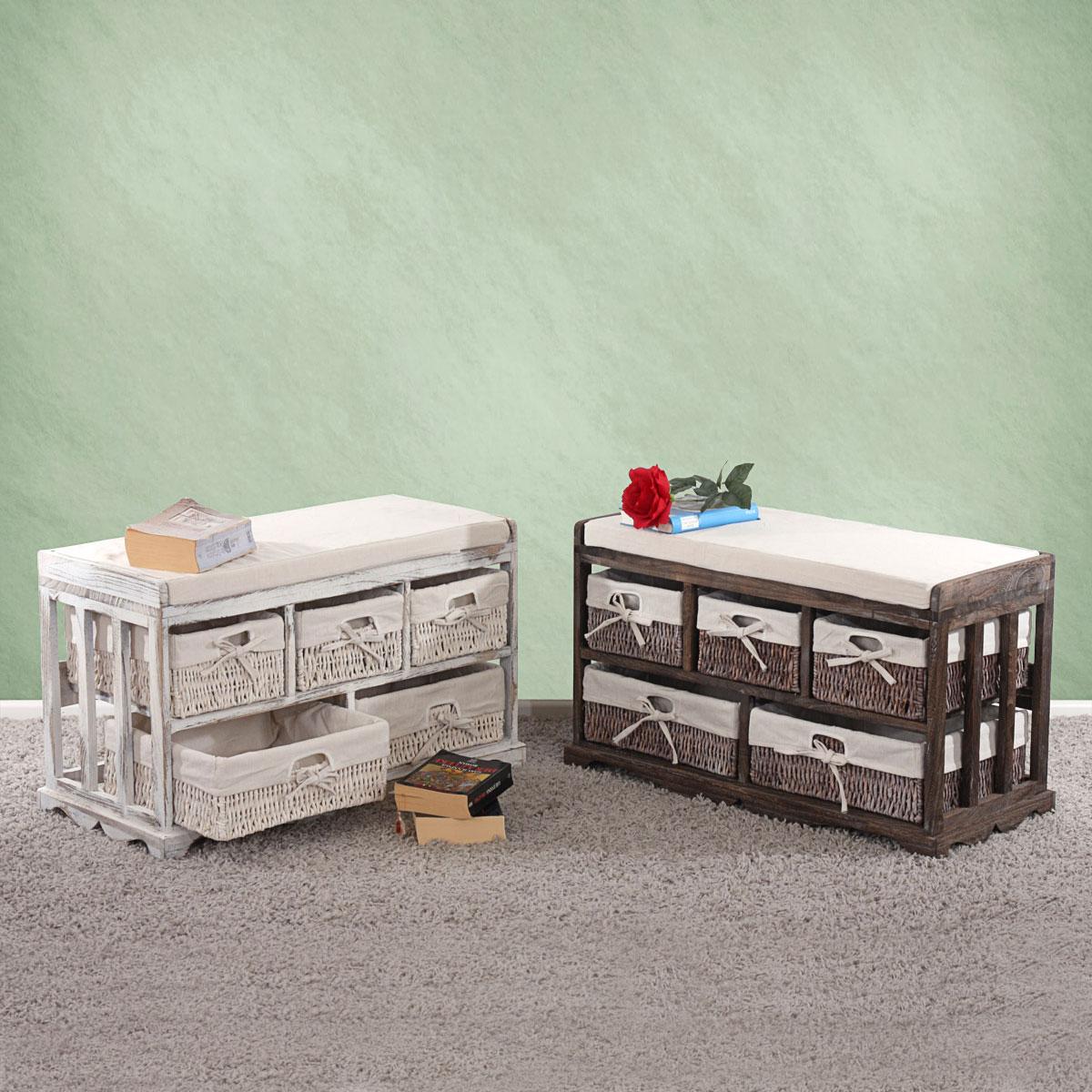 kommode sitzbank mit 5 schubladen 77x45x36cm shabby look vintage wei braun. Black Bedroom Furniture Sets. Home Design Ideas