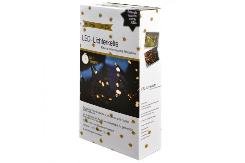 led lichterkette mit timer batterie innen au en warmwei 50 100 200 ebay. Black Bedroom Furniture Sets. Home Design Ideas