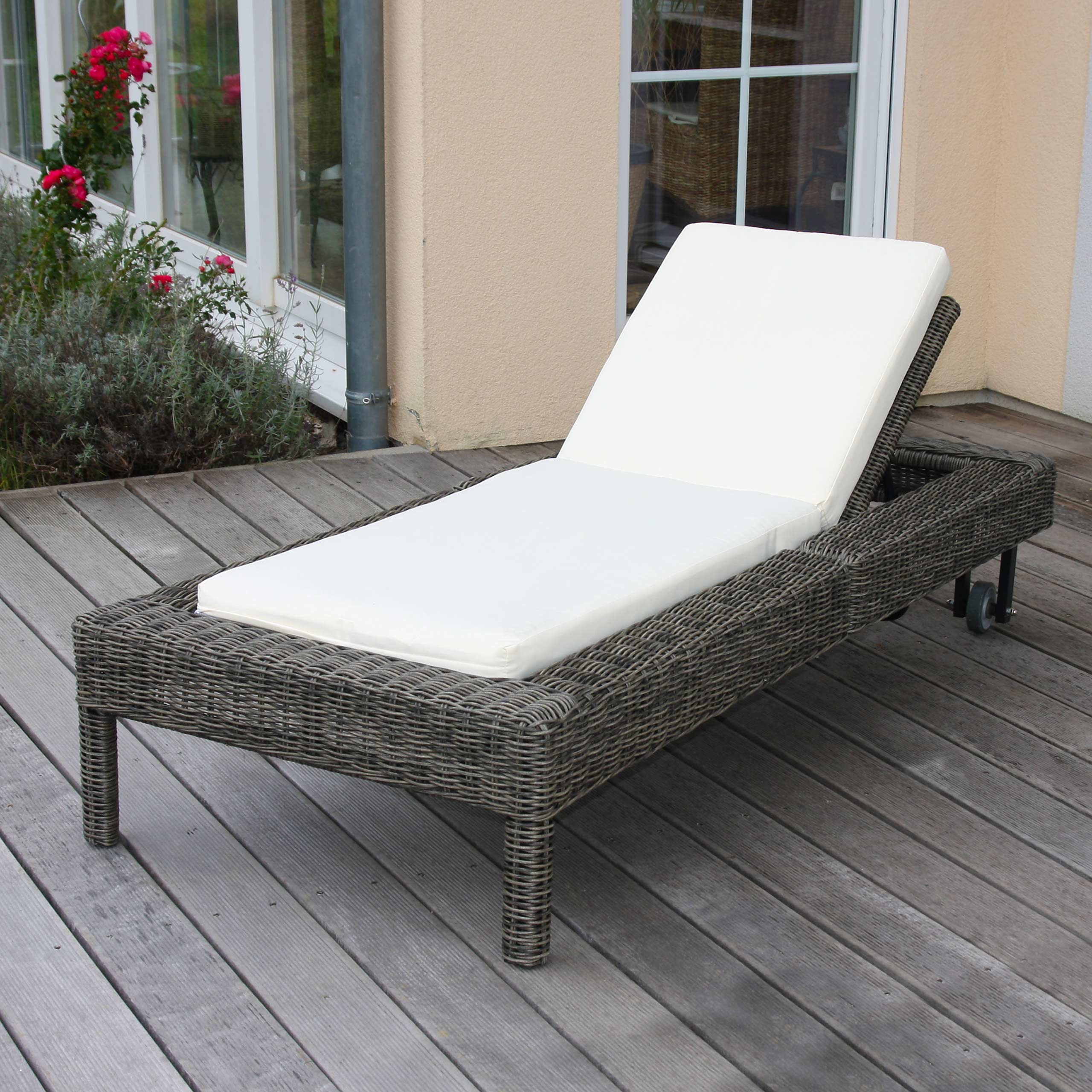 luxus sonnenliege gartenliege liege romviii naturgrau rundes rattan ebay. Black Bedroom Furniture Sets. Home Design Ideas