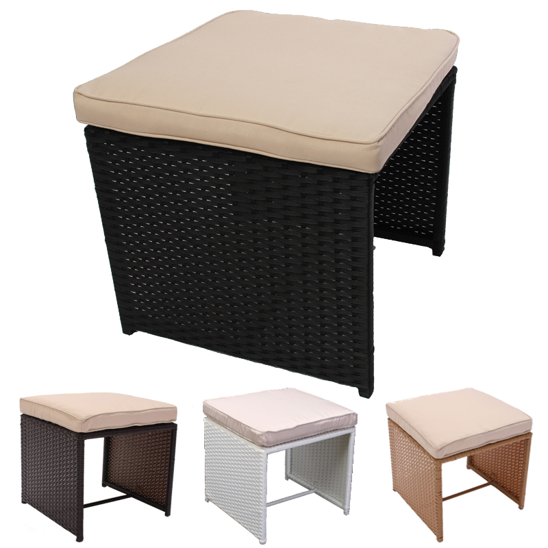 sitzhocker hocker rom poly rattan mit sitzkissen braun anthrazit sand wei ebay. Black Bedroom Furniture Sets. Home Design Ideas