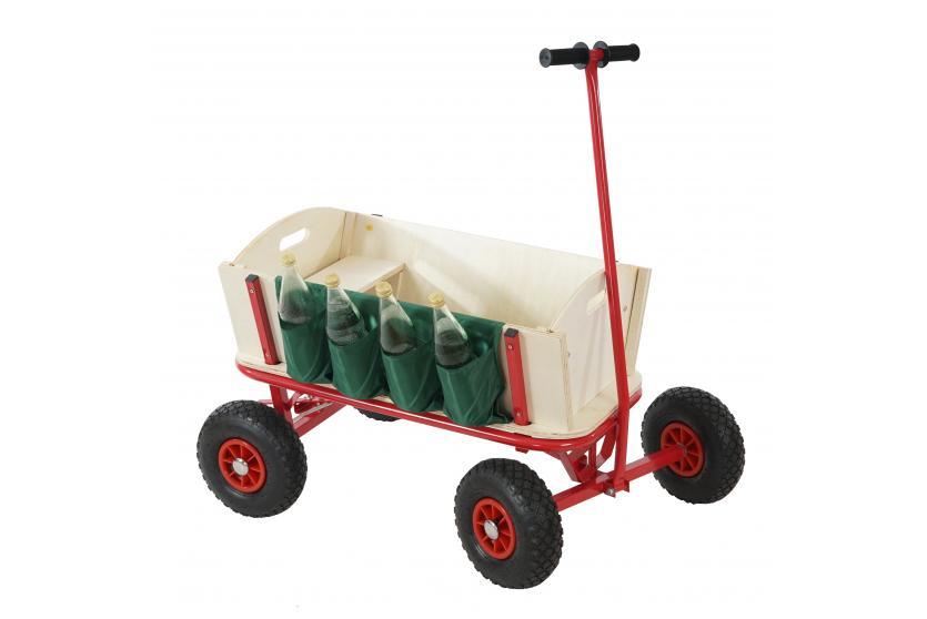 bollerwagen mit flaschenhalter handwagen mit bremse sitz ebay. Black Bedroom Furniture Sets. Home Design Ideas