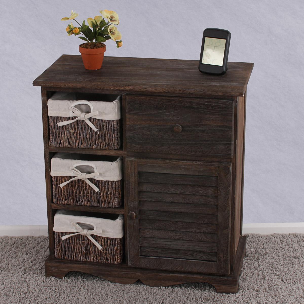 kommode schrank mit 3 k rben 63x60x30cm shabby look vintage wei braun grau ebay. Black Bedroom Furniture Sets. Home Design Ideas