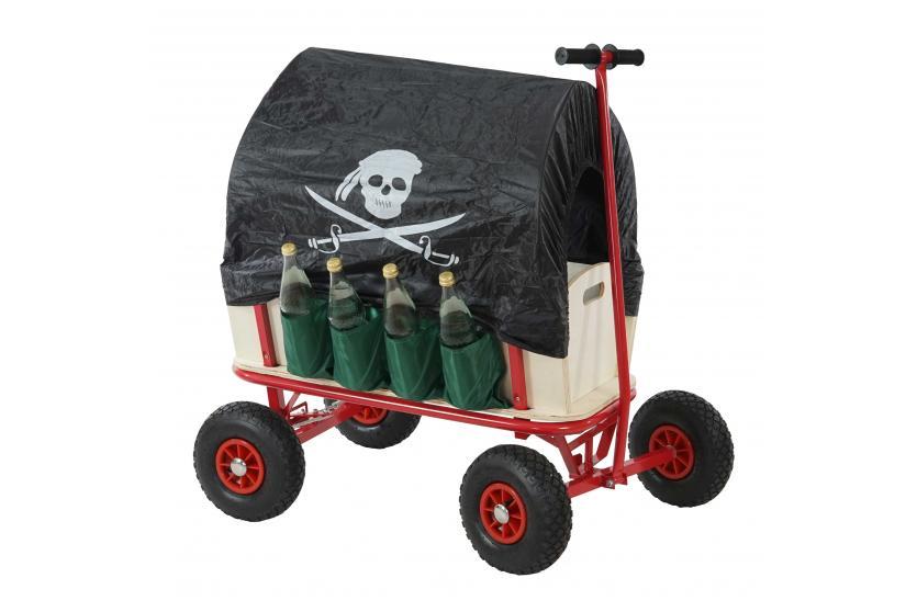 bollerwagen pirat handwagen mit flaschenhalter bremse und sitz dach schwarz ebay. Black Bedroom Furniture Sets. Home Design Ideas