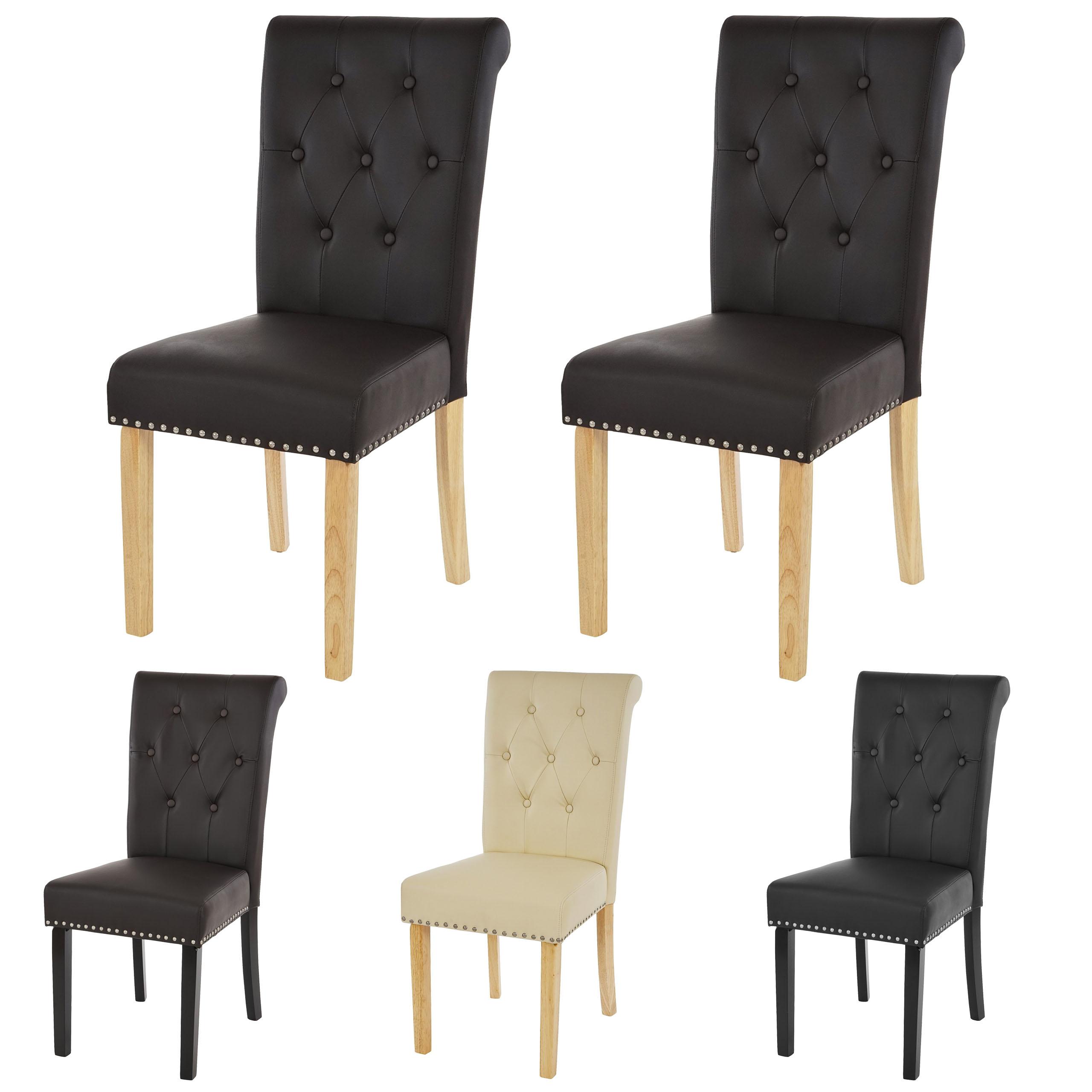 2x esszimmerstuhl chesterfield ii lehnstuhl stuhl nieten kunstleder ebay. Black Bedroom Furniture Sets. Home Design Ideas