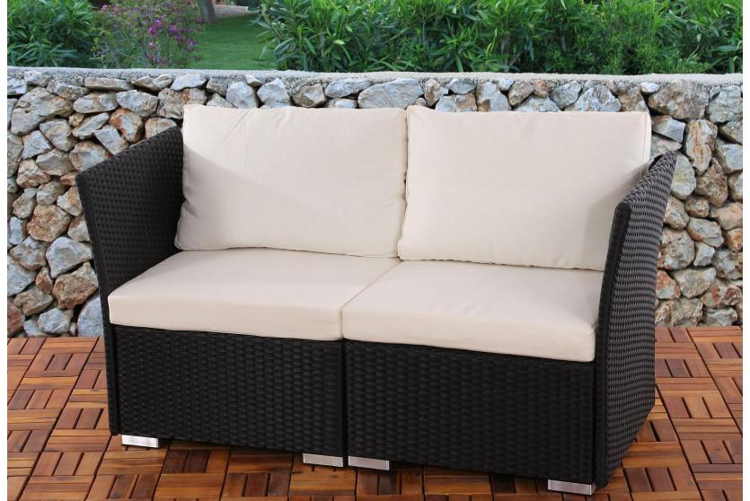2er Sofa 2 Sitzer Siena Poly Rattan Naturgrau Grau Anthrazit Braun