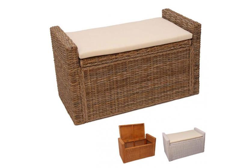 sitzbank aufbewahrungstruhe truhe rattan 88cm kubu grau hellbraun wei ebay. Black Bedroom Furniture Sets. Home Design Ideas