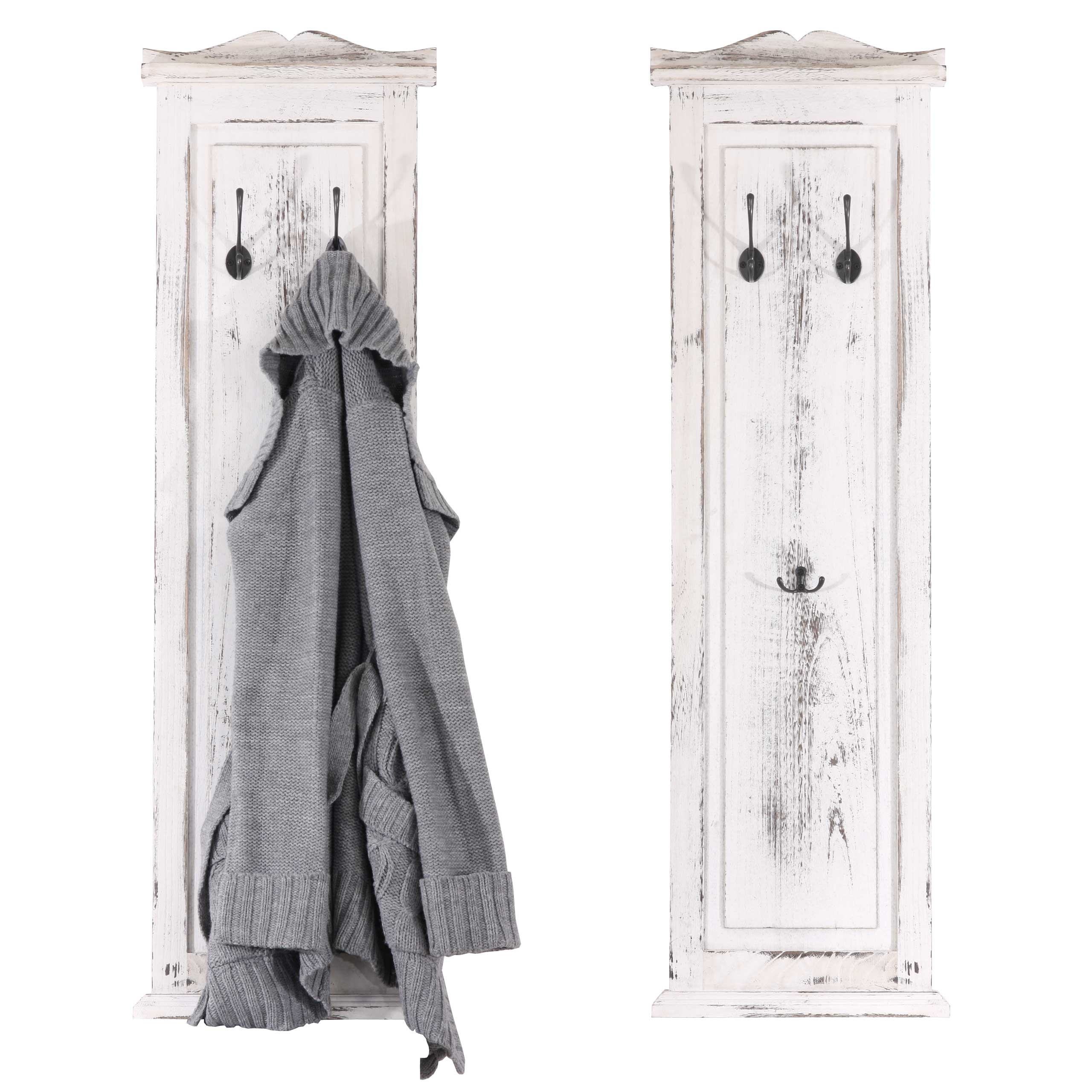 2x garderobe wandgarderobe wandhaken 109x28x3 5cm shabby look vintage wei ebay. Black Bedroom Furniture Sets. Home Design Ideas