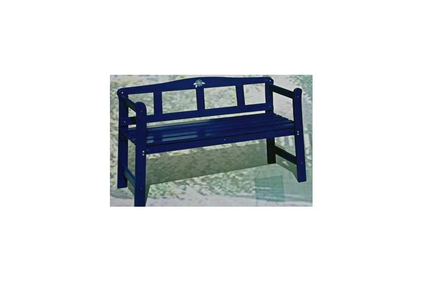 holzbank friesenbank gartenbank parkbank 123cm blau massiv holz ebay. Black Bedroom Furniture Sets. Home Design Ideas