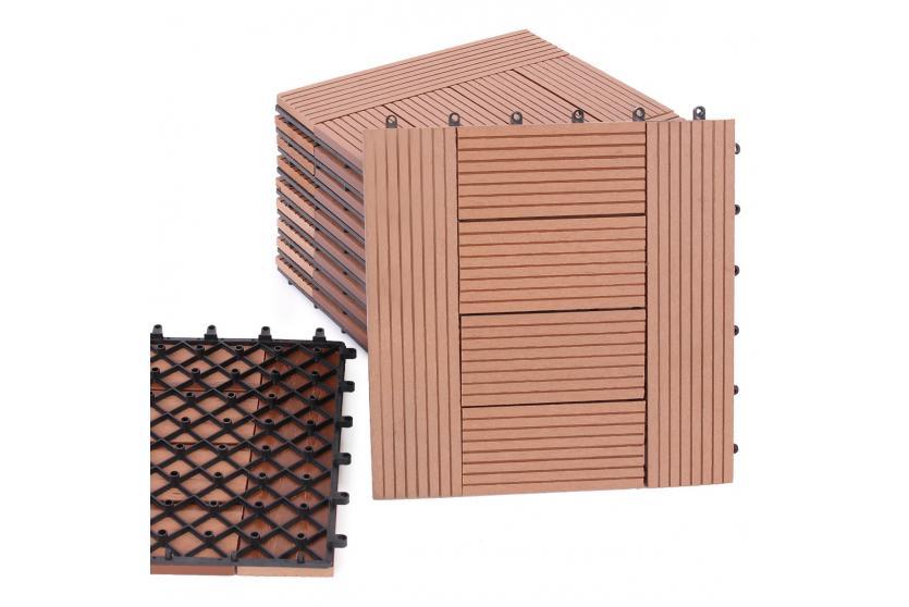 wpc holz fliese balkonfliese terrassenfliese 11 fliesen 1m ebay. Black Bedroom Furniture Sets. Home Design Ideas