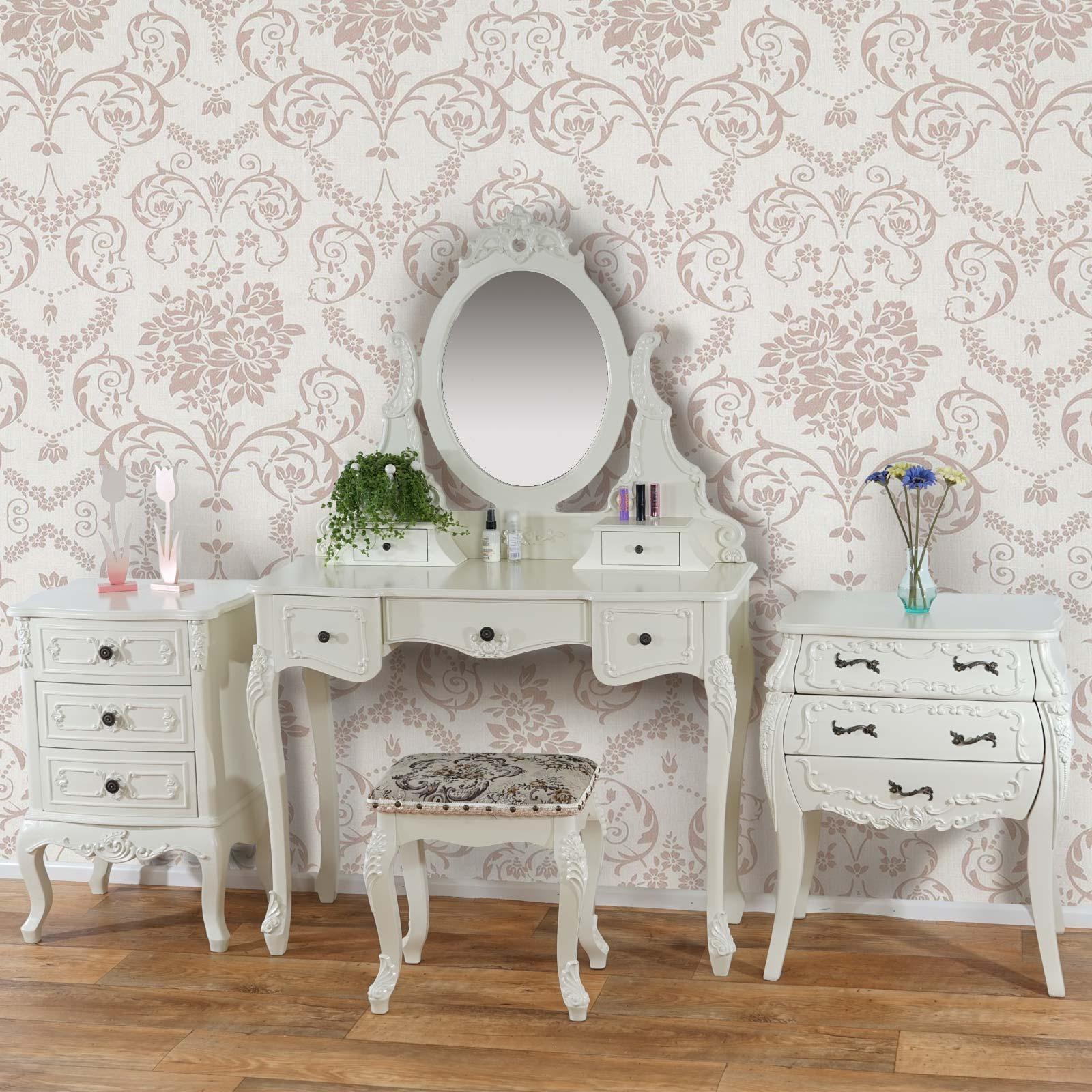 schminktisch set rom kommoden set schrank barock creme wei oder antik wei. Black Bedroom Furniture Sets. Home Design Ideas