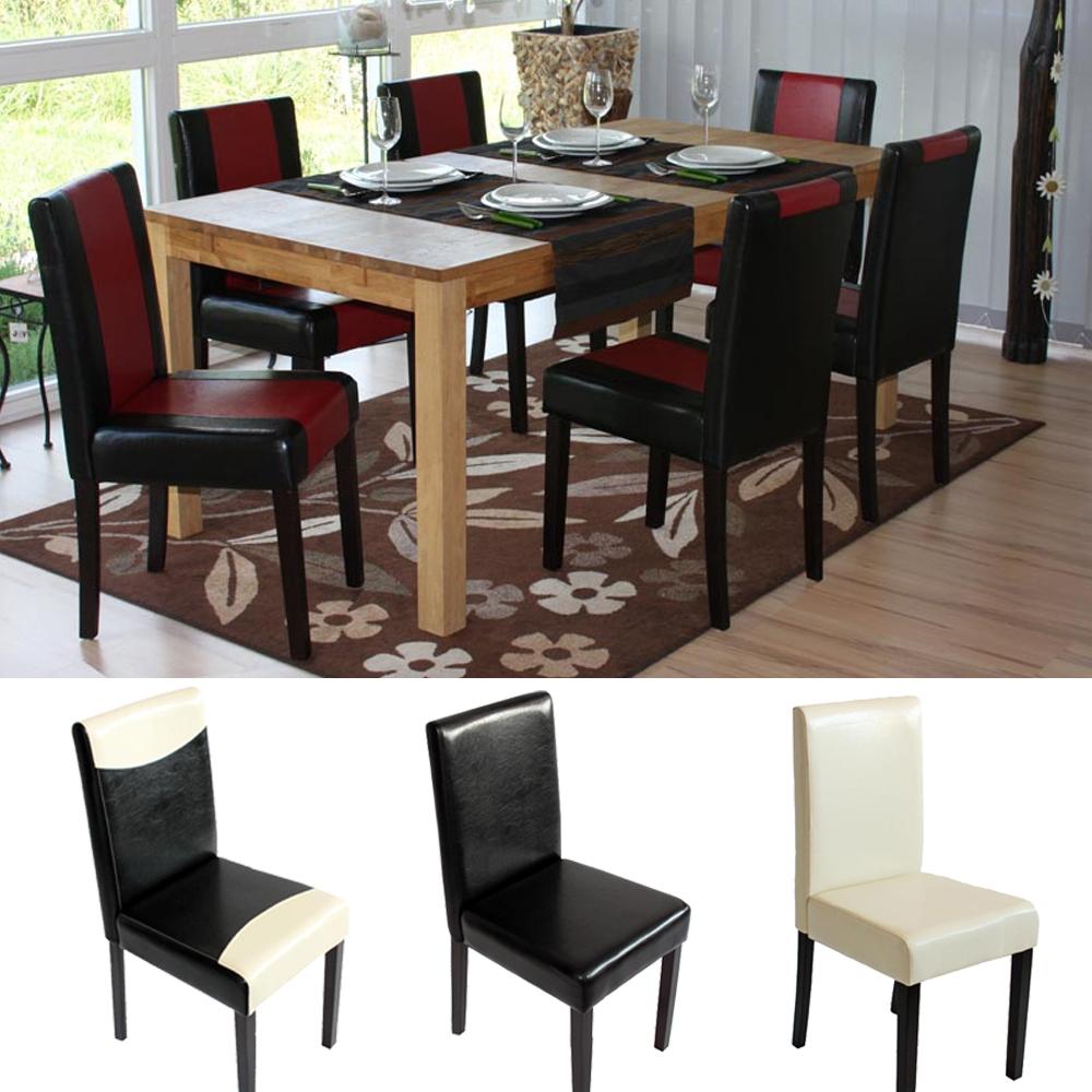 6x esszimmerstuhl stuhl littau pu leder schwarz creme rot dunkle beine ebay. Black Bedroom Furniture Sets. Home Design Ideas
