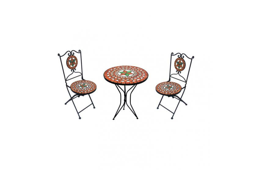 mosaik garnitur mosaiktisch 2 st hle. Black Bedroom Furniture Sets. Home Design Ideas