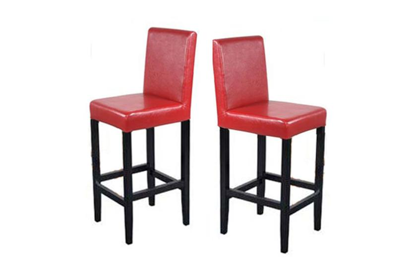 2x barhocker vicenza holz leder rot creme schwarz braun ebay. Black Bedroom Furniture Sets. Home Design Ideas