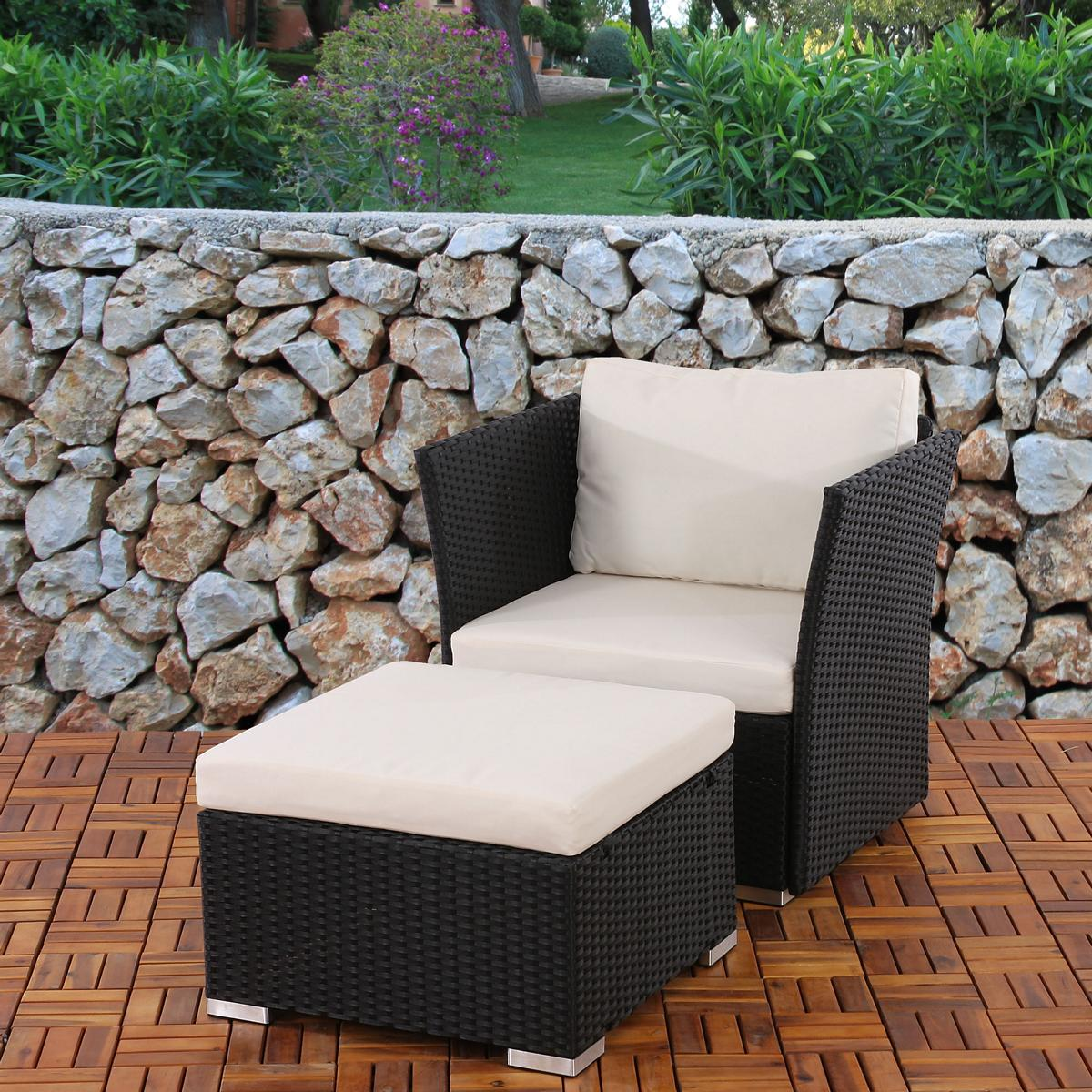 sessel mit ottomane sevilla poly rattan anthrazit mit kissen in creme ebay. Black Bedroom Furniture Sets. Home Design Ideas