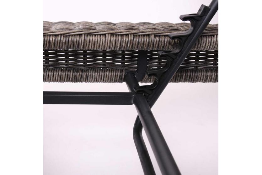 Gartenliege liege romviii poly rattan naturgrau rundes rattan