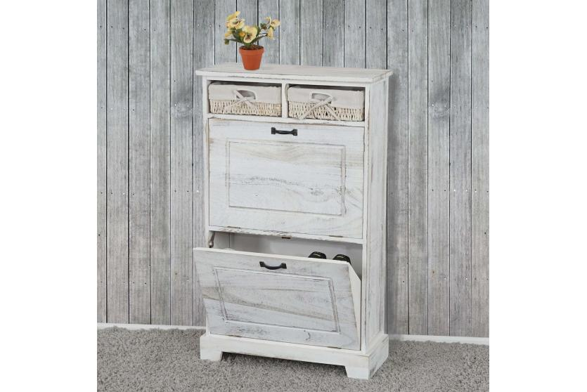 schuhschrank schuhkipper 100x60x25cm shabby look vintage wei ebay. Black Bedroom Furniture Sets. Home Design Ideas