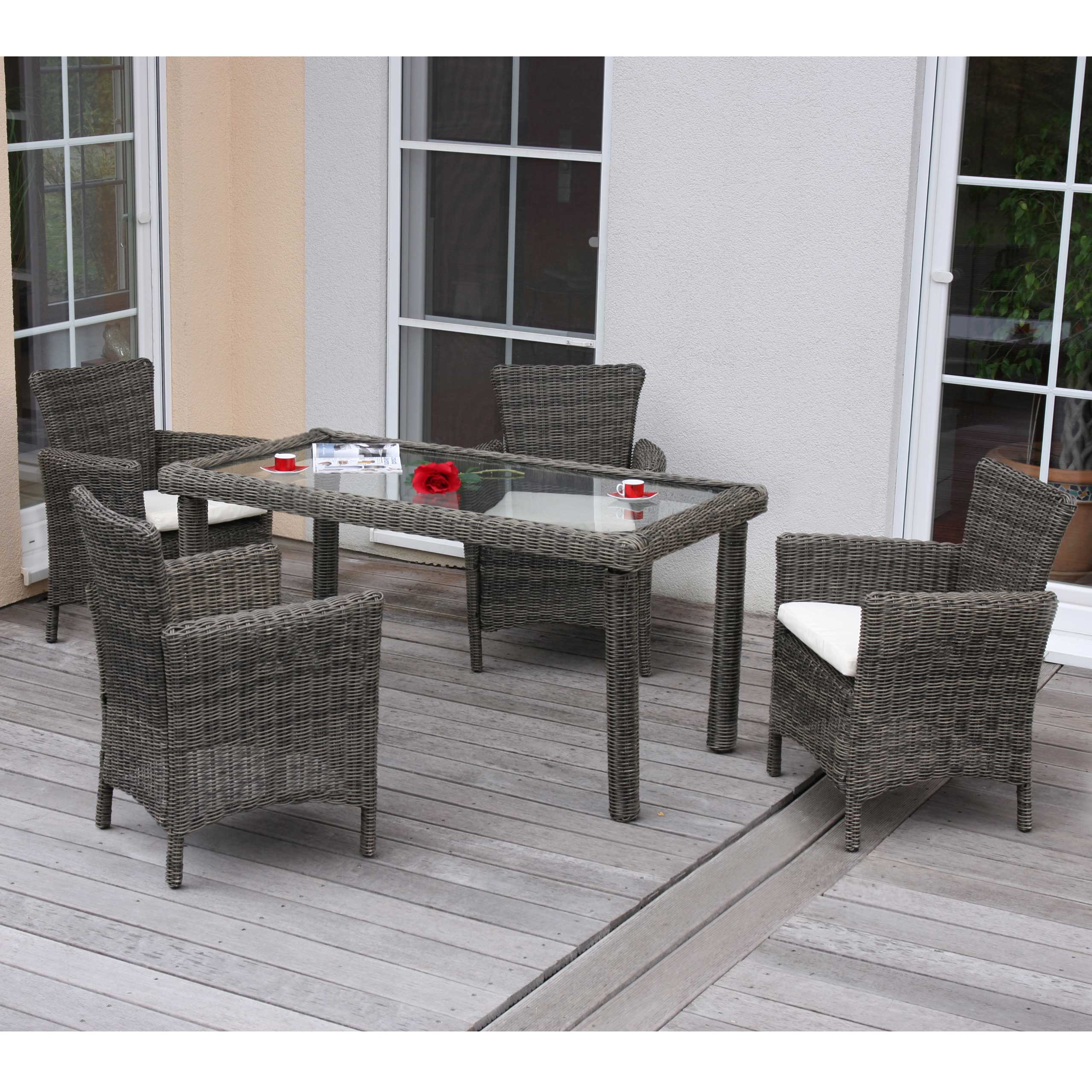 luxus poly rattan garten garnitur esszimmer set romv 4 sessel tisch naturgrau ebay. Black Bedroom Furniture Sets. Home Design Ideas