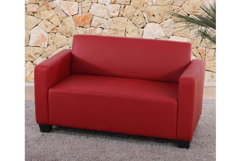 sofa garnitur couch garnitur 2x 2er sofa lyon kunstleder rot. Black Bedroom Furniture Sets. Home Design Ideas