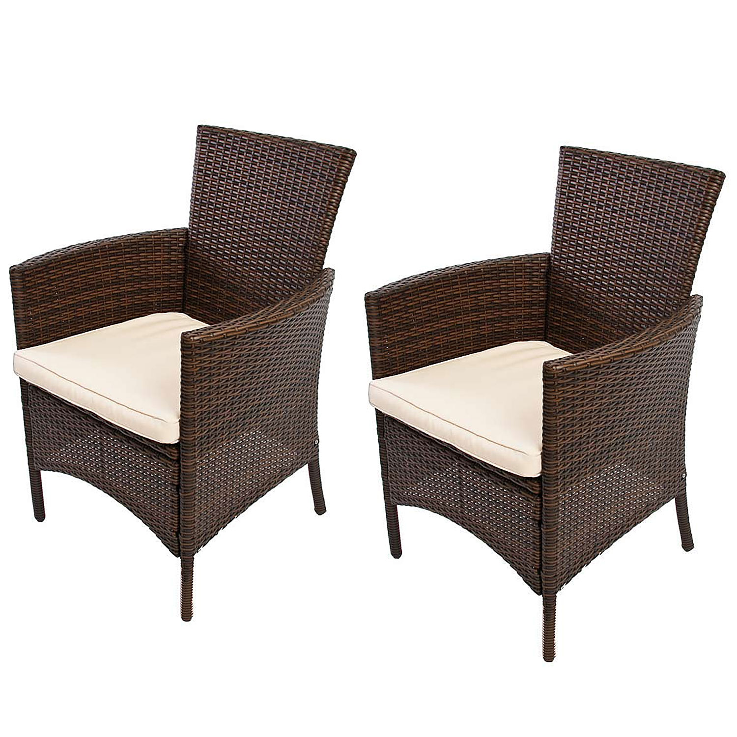 2x gartensessel korbsessel romv poly rattan 85 5x61x60 cm braun meliert ebay. Black Bedroom Furniture Sets. Home Design Ideas