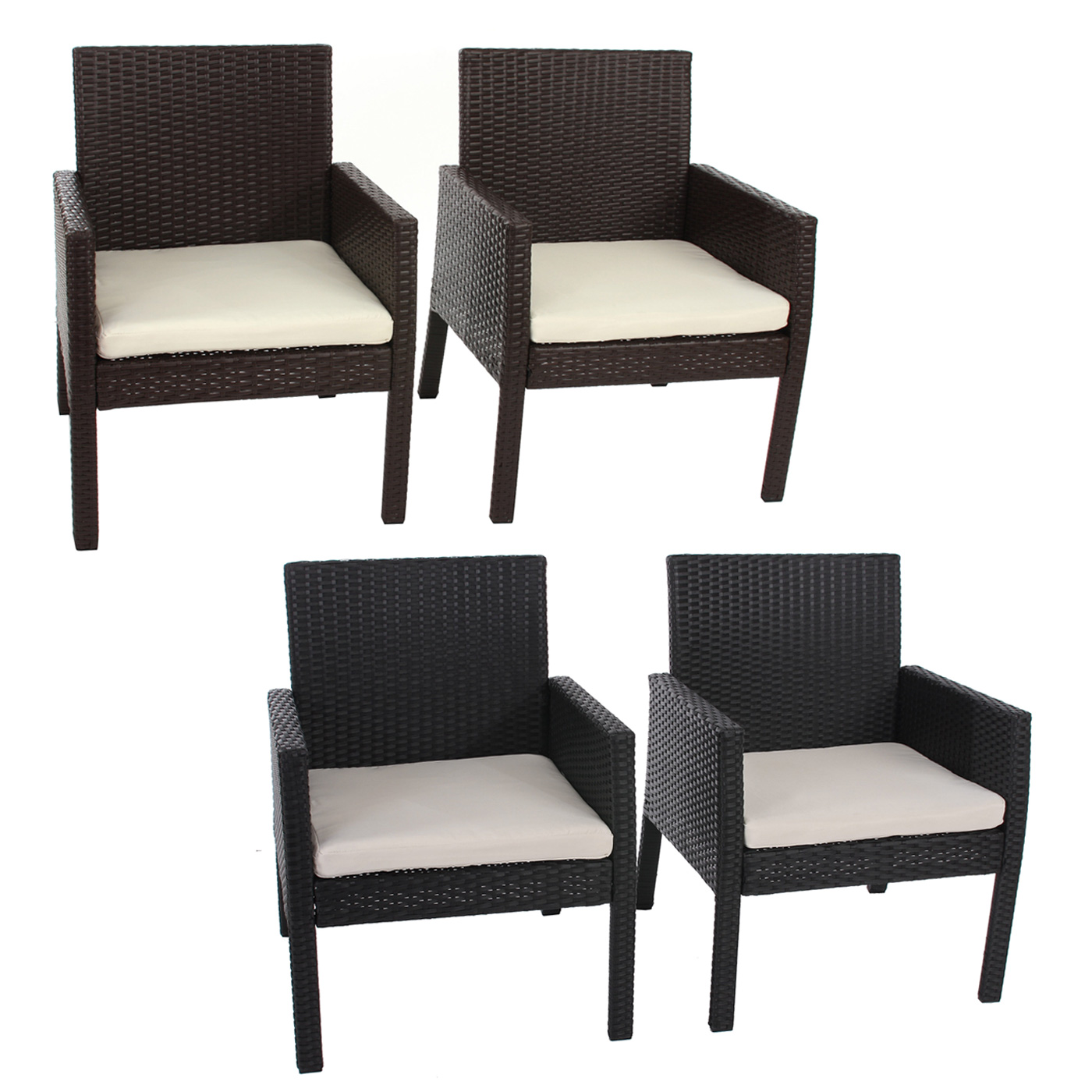 2x poly rattan sessel gartensessel sanremo inkl sitzkissen ebay. Black Bedroom Furniture Sets. Home Design Ideas