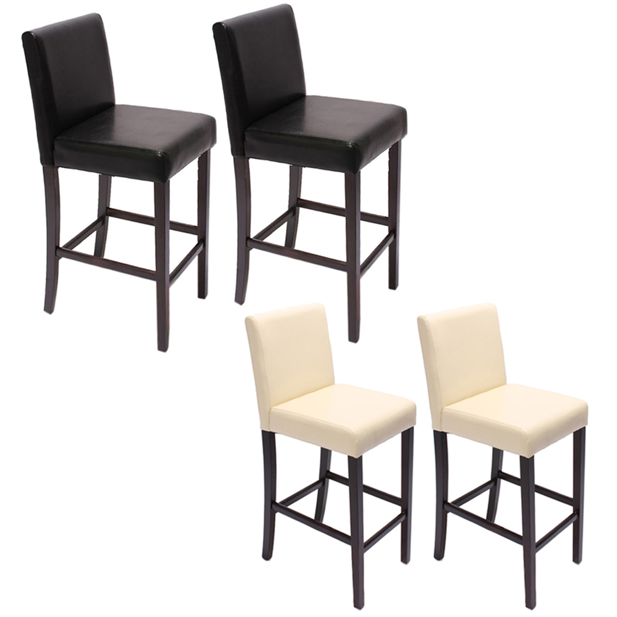 2x barhocker barstuhl m02 kunstleder dunkle f e schwarz creme ebay. Black Bedroom Furniture Sets. Home Design Ideas