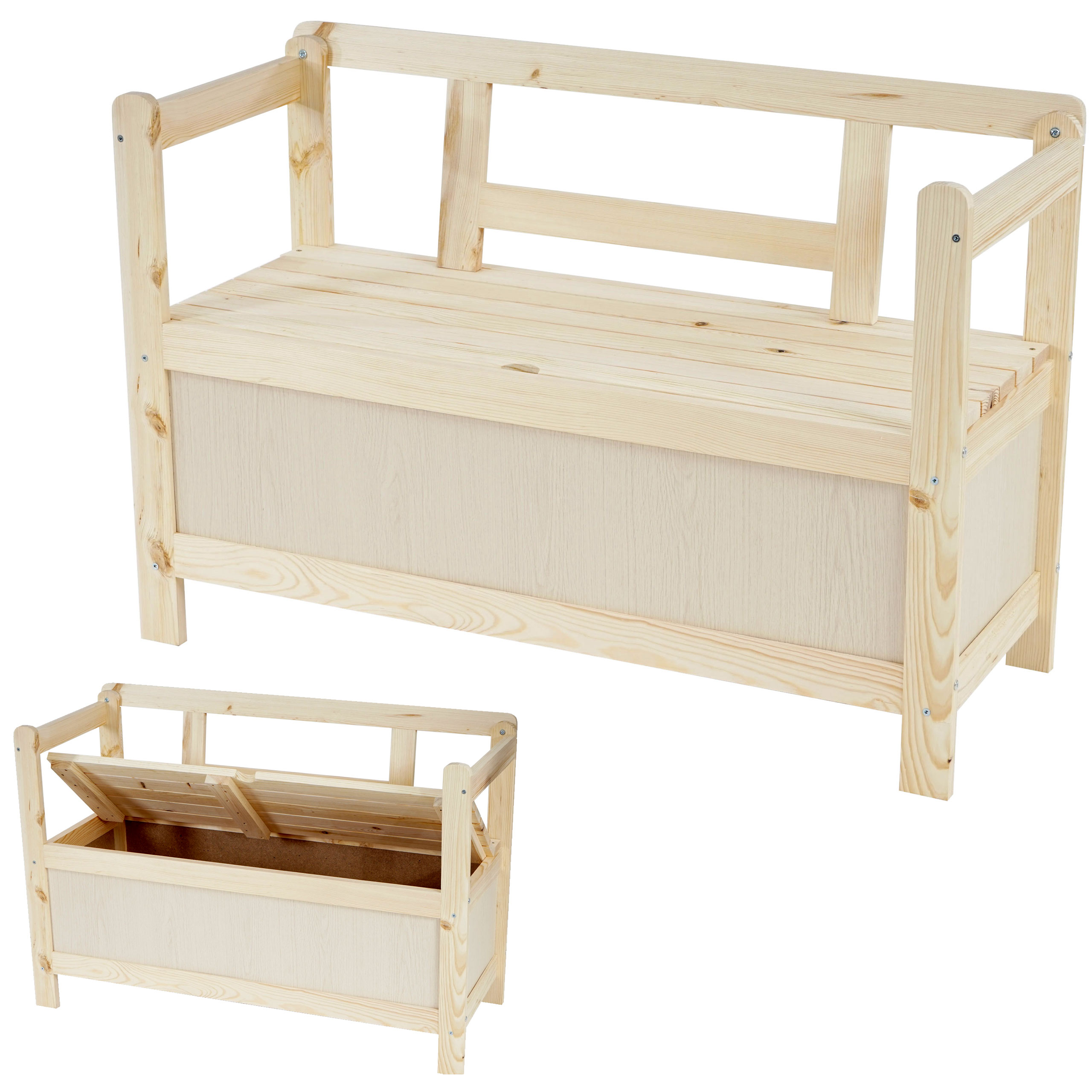 holzbank truhenbank gartenbank friesenbank kastenbank bremen 114 cm natur ebay. Black Bedroom Furniture Sets. Home Design Ideas