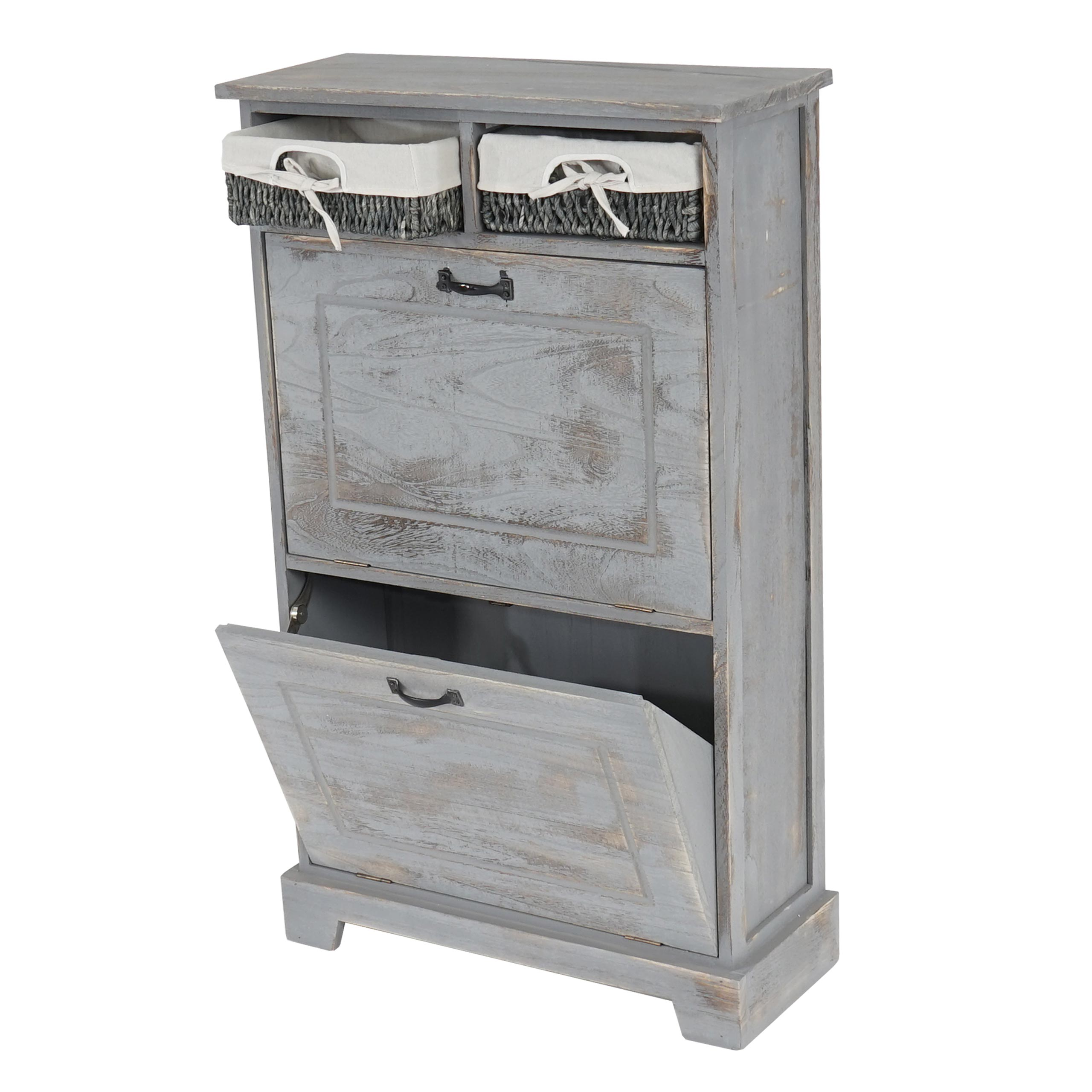 schuhschrank schuhkipper 100x60x25cm shabby look vintage grau ebay. Black Bedroom Furniture Sets. Home Design Ideas