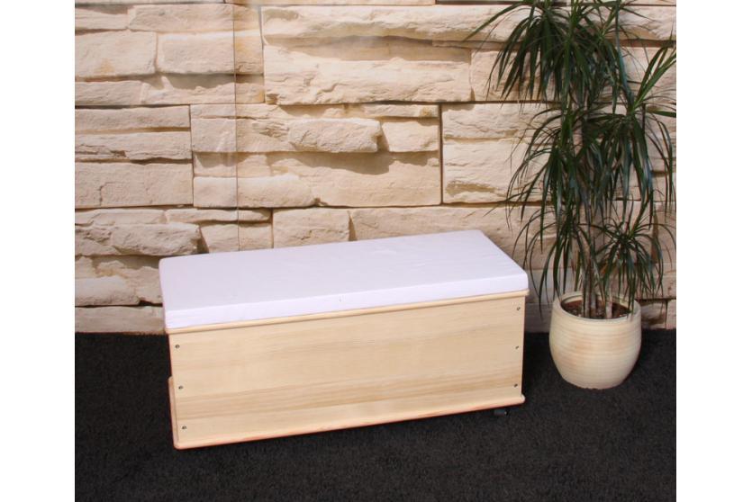 sitzbank w schekorb aufbewahrungstruhe truhe kiefer holz 91cm natur sitzkissen. Black Bedroom Furniture Sets. Home Design Ideas