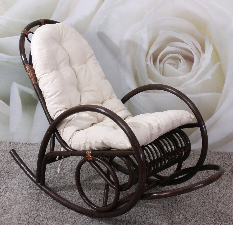 schaukelstuhl rattansessel schwingsessel derby braun mit wei er auflage ebay. Black Bedroom Furniture Sets. Home Design Ideas