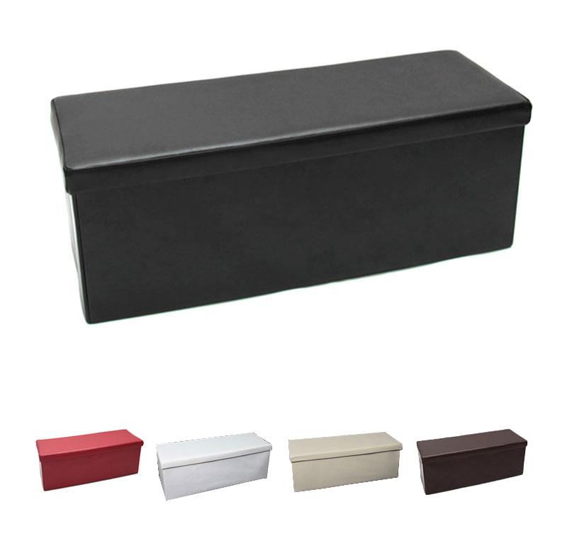mit stauraum truhe 110x43x40 cm schwarz beschichtetes leder. Black Bedroom Furniture Sets. Home Design Ideas