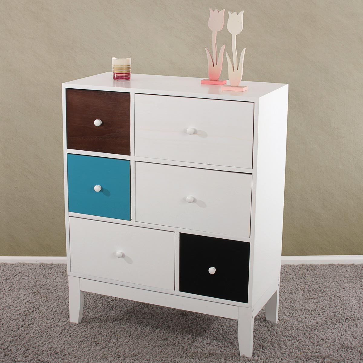 kommode sideboard schrank 94x74x35cm 6 schubladen patchwork ebay. Black Bedroom Furniture Sets. Home Design Ideas