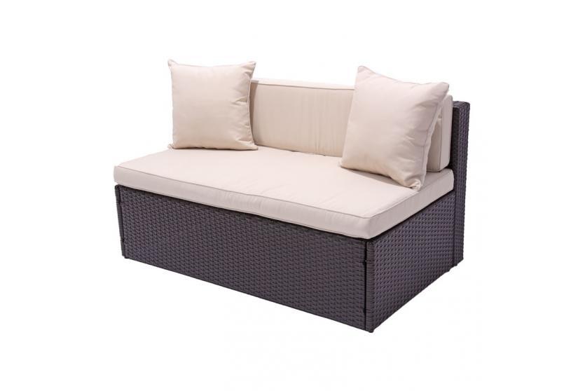 Modulares poly rattan 2er sofa rom ohne armlehne anthrazit sand braun meliert for Rattan loungemobel anthrazit