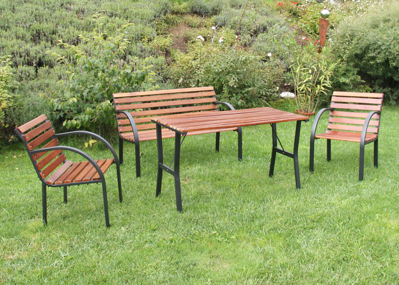 garten set garten garnitur sessel gartenbank gartentisch grau teak ebay. Black Bedroom Furniture Sets. Home Design Ideas
