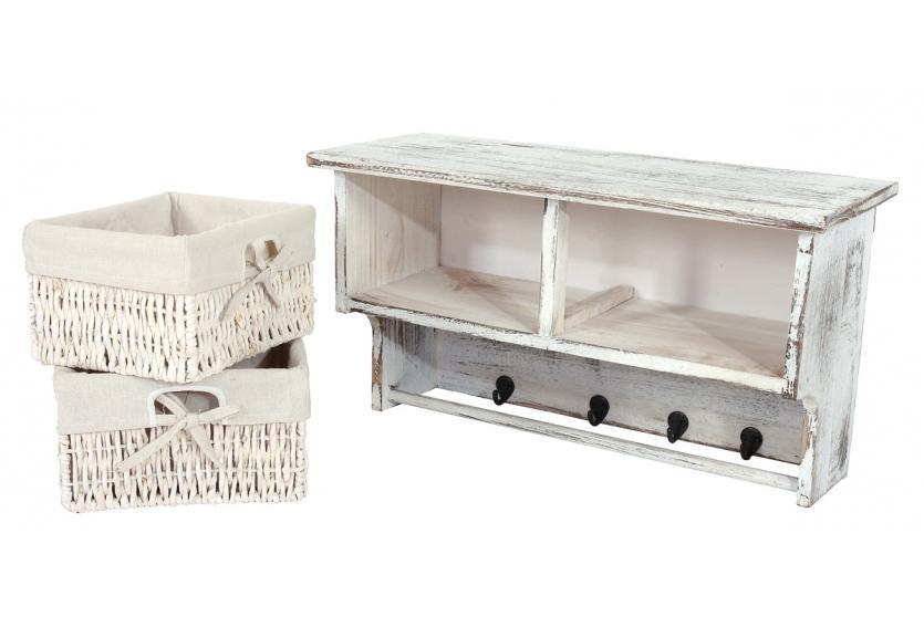 garderobe wandregal mit 2 k rben 2x beistelltisch. Black Bedroom Furniture Sets. Home Design Ideas