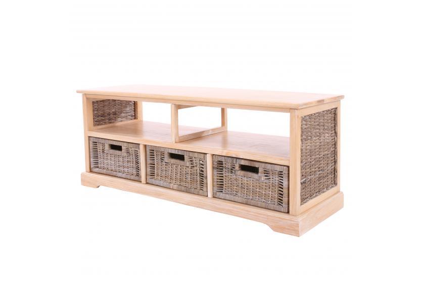 tv rack lowboard fernsehtisch holz rattan alabama hell geb rstet wei lackiert. Black Bedroom Furniture Sets. Home Design Ideas