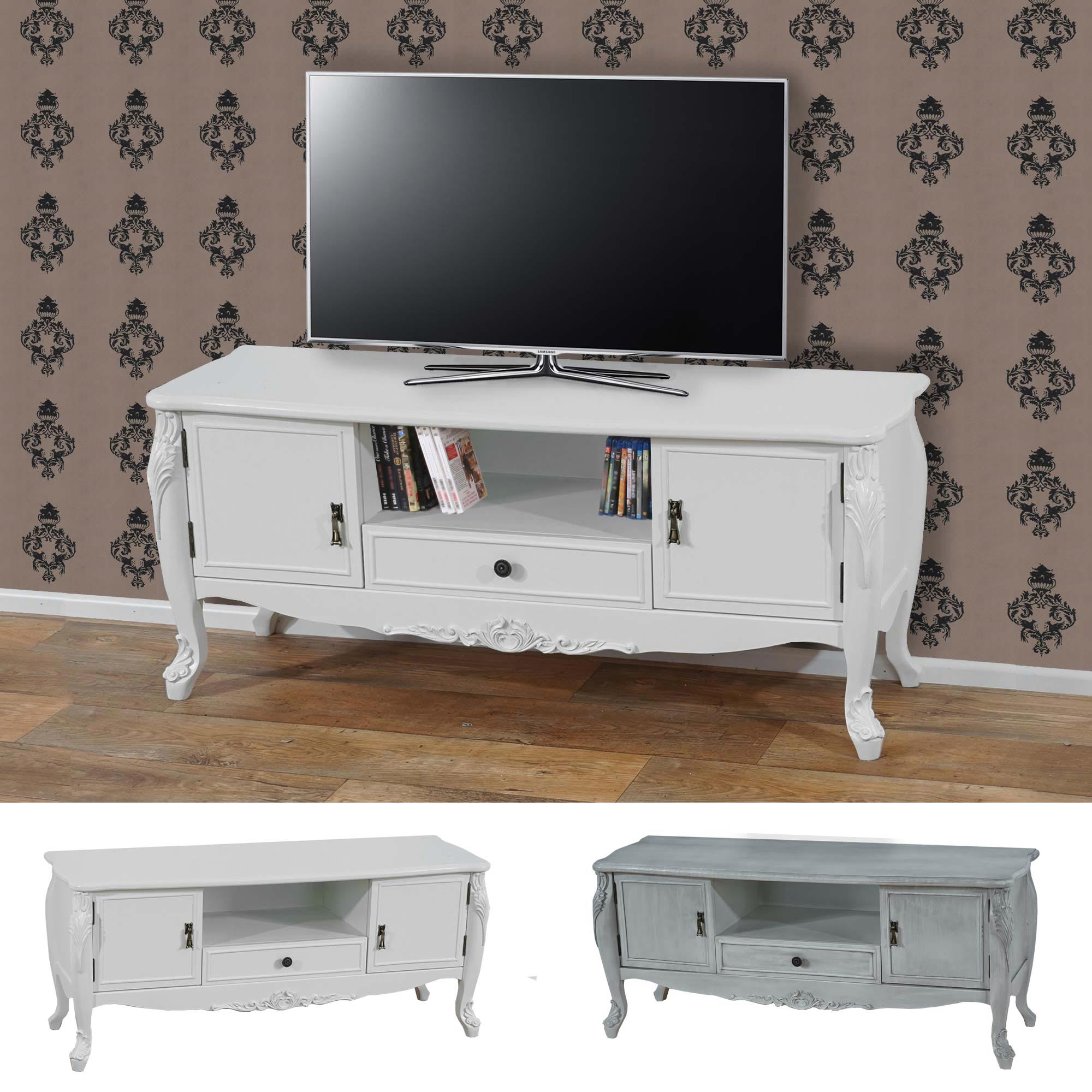 tv rack barletta fernsehtisch barock 54x122x42cm creme wei oder antik wei ebay. Black Bedroom Furniture Sets. Home Design Ideas