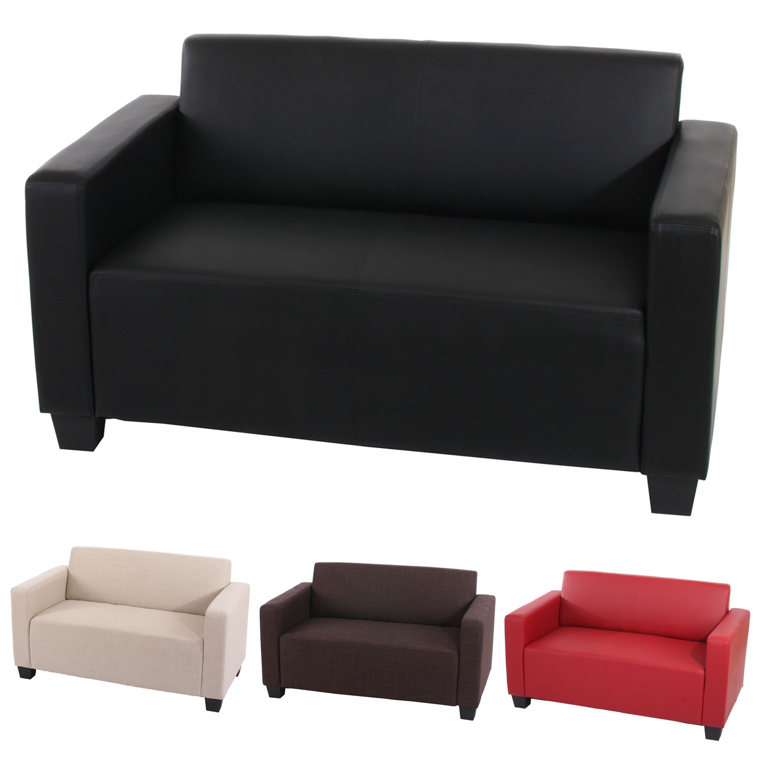 2er sofa couch loungesofa lyon textil kunstleder creme rot schwarz braun ebay. Black Bedroom Furniture Sets. Home Design Ideas