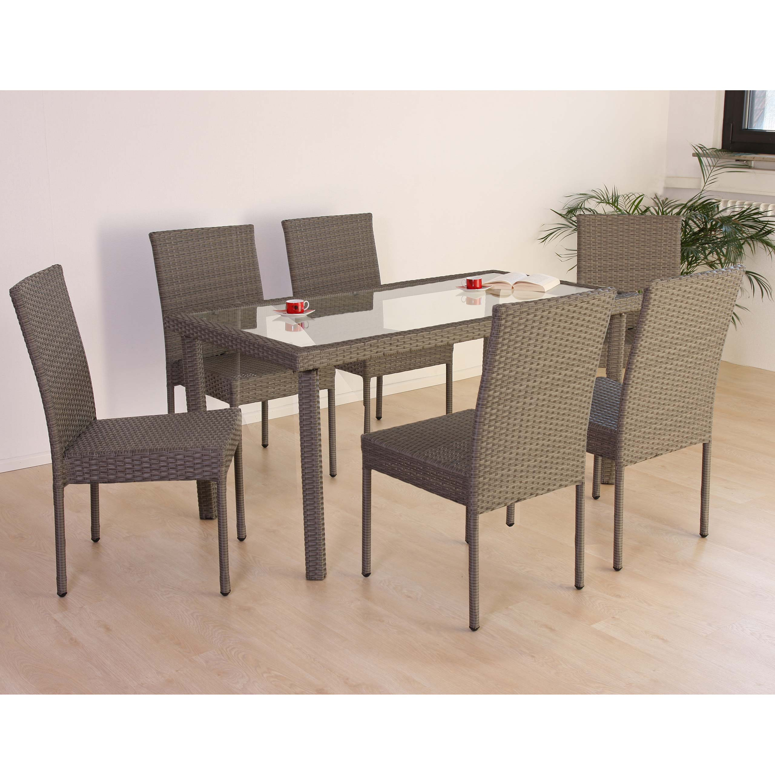 Poly Rattan Garten Garnitur Esszimmer Set RomV,6 Stapelstühle+Tisch ~
