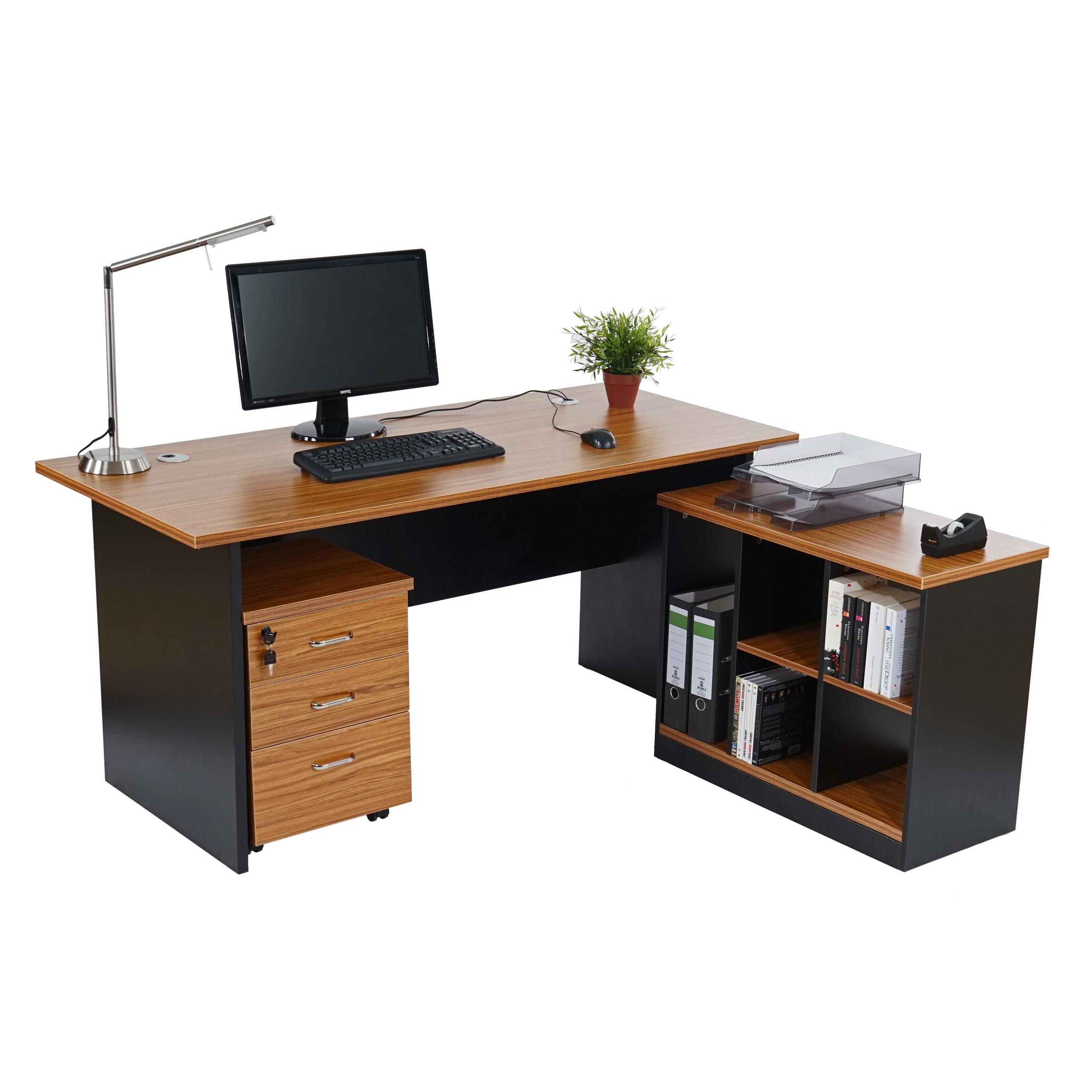 schreibtisch eckschreibtisch calgary 160x150x75cm rotes. Black Bedroom Furniture Sets. Home Design Ideas