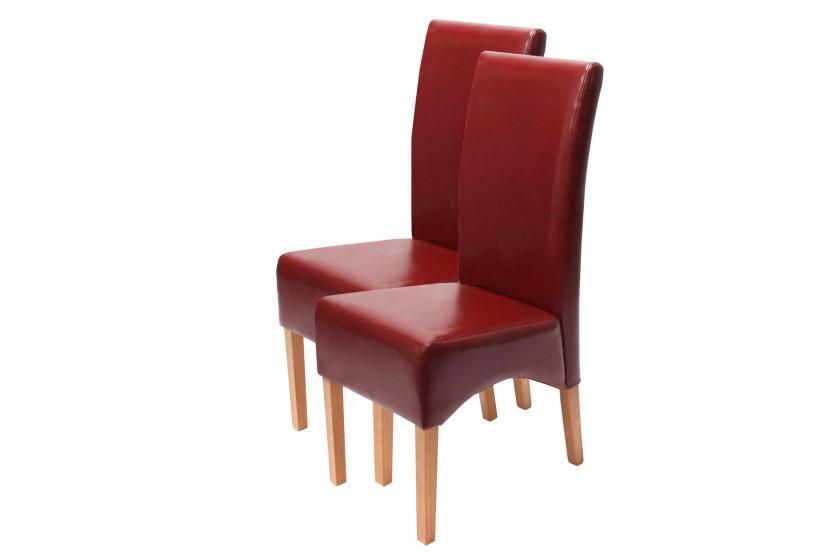 2x esszimmerstuhl lehnstuhl stuhl latina leder rot helle beine. Black Bedroom Furniture Sets. Home Design Ideas