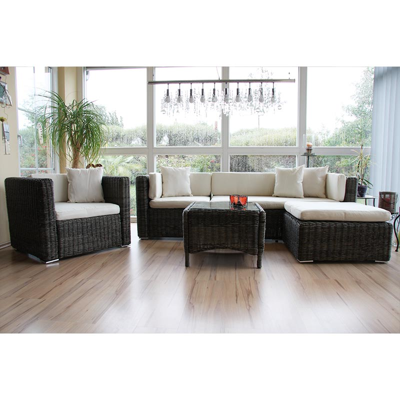 luxus poly rattan sofa garnitur romv 2 1 1 sessel grau rundes rattan ebay. Black Bedroom Furniture Sets. Home Design Ideas