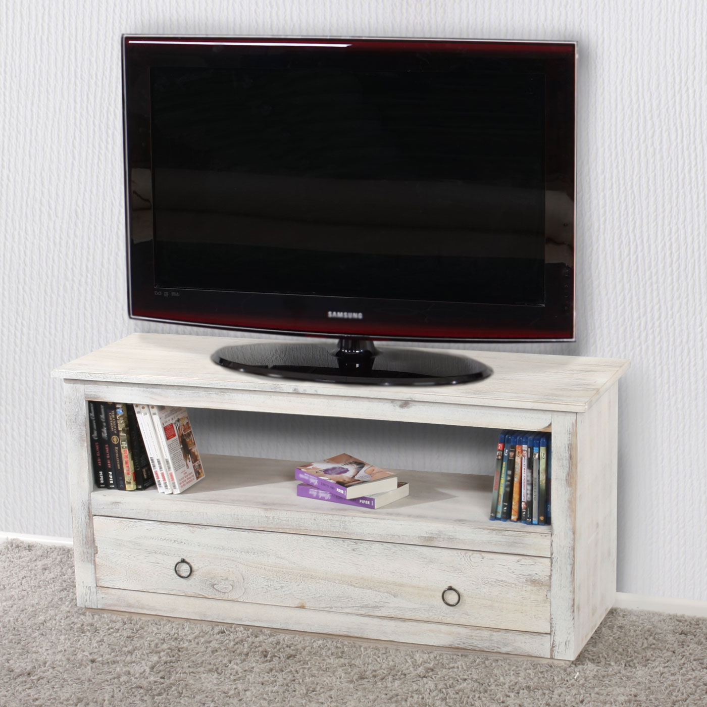 tv rack fernsehtisch lowboard tv regal shabby look. Black Bedroom Furniture Sets. Home Design Ideas